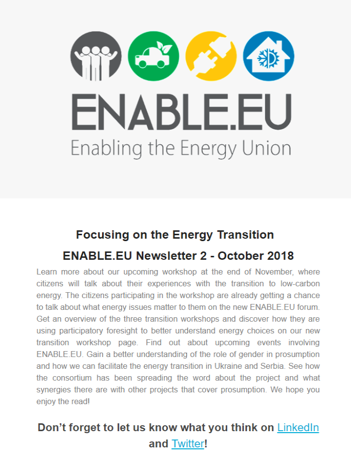 ENABLE.EU Newsletter 2 - October 2018