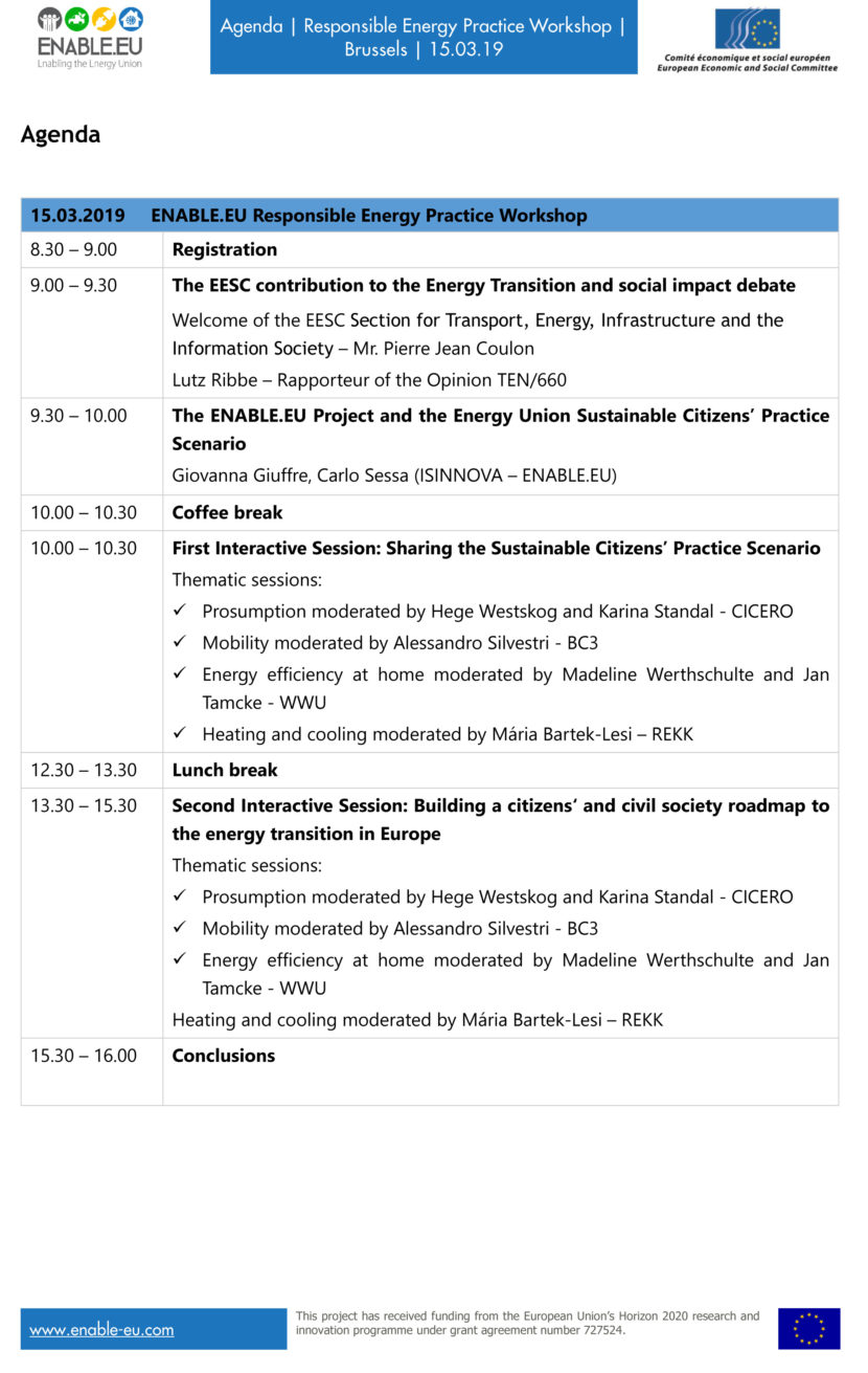 ENABLE.EU Responsible Practice Workshop agenda
